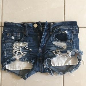 American Eagle Shortie Super Stretch Ripped Shorts
